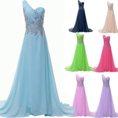 2014 Sexy One Shoulder Long Bridesmaid Maxi Evening Dress Formal Prom Ball Gown