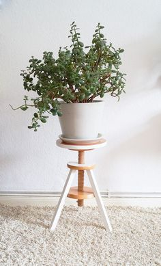DIY Plant Hangers - Piano Stool Plant Stand - Cute and Easy Home Decor Ideas for Plants - How To Make Planters, Hanging Pot Holders, Wire, Rope and Baskets - Quick DIY Gifts Ideas, Macrame Plant Hanger Modern Plant Stand, Diy Plant Stand, Piano Stool, Wooden Plant Stands, Diy Planters, Planter Ideas, Deco Design, Outdoor Plants, Indoor Outdoor