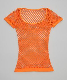 Neon Orange Fishnet Tee - Girls by Malibu Sugar #zulily #zulilyfinds