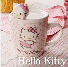 Hello Kitty Ceramic Mug with Lid- FREE SHIPPING