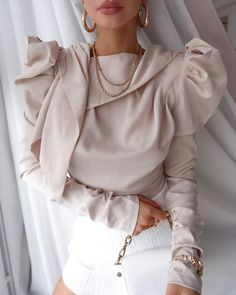 FSDA Tie Bow Long Puff Sleeve Blouse Office Women Spring Summer Casual Pink Black Elegant Ladies Satin Tops - pink,s Jeanne Lanvin, Casual, Satin Top, Elegant Woman, Fashion Stylist, Fashion Outfits, Womens Fashion, Pattern Fashion, Autumn Fashion