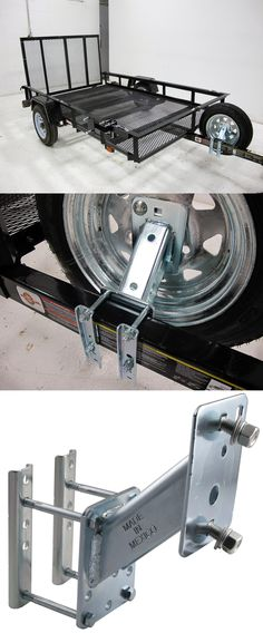 This spare tire mount attaches to the trailer and features steel plate construction and a security locking hole for added security! An essential accessory for long road trips. This carrier fits a variety of wheels.