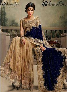 Blue and golden net saree