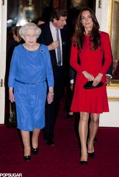 The Queen and The Duchess of Cambridge welcome stars of stage and screen to Buckingham Palace, 2/17/14 #katemiddleton