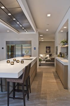 Van Boven - Tailored luxury kitchen - High ■ Exclusive living room and garden interior… - Kitchen Decor Kitchen Inspirations, Kitchen Design Open, Kitchen Flooring, Open Dining Room, Indian Living Rooms, Kitchen Remodel, Contemporary Kitchen, Kitchen Floor Plans, Sleek Kitchen