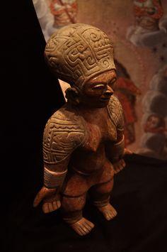 "Jama Coaque Terracotta Sculpture of a Standing Woman - PF.2460 Origin: Northern Manabi, Ecuador Circa: 200 BC to 600 AD Dimensions: 15"" (38.1cm) high x 9.375"" (23.8cm) wide Collection: Pre-Columbian Medium: Terracotta"