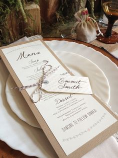 Love Love this cute little rustic menu and place card designed by Pink Polka Wedding Designs in Edmonton for an event we did in May