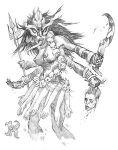 K is for Kali The most destructive aspect of the Hindu goddess Devi , Kali is an incarnation of annihilation - sent to Earth to destroy de. Fantasy Creatures, Mythical Creatures, Four Arms, Medieval, Geniale Tattoos, Drawing Artist, Fantasy Warrior, Artist Gallery, Making Out