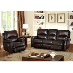 Crestview Dark Brown Hand Rubbed Top Grain Leather Lay Flat Reclining Sofa and Recliner