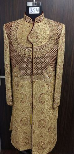 fully zardosi sherwani in gold.To order this whatsapp us on . Sherwani Groom, Mens Sherwani, Wedding Sherwani, African Fashion, Indian Fashion, Mens Fashion, Indian Groom Wear, Indian Wear, Brocade Suits