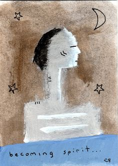 becoming spirit e9Art ACEO Outsider Folk Art Brut Painting Shaman Illustration