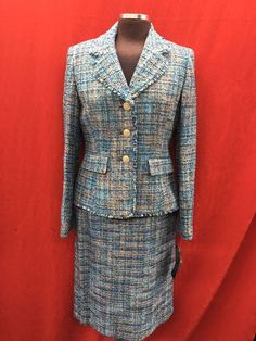 ALBERT NIPON SKIRT SUIT/NEW WITH TAG/SIZE 12/RETAIL$280/tweed fabric/LINED/ #ALBERTNIPON #SkirtSuit