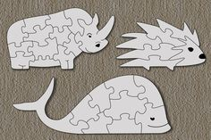 Free Scroll Saw Patterns by Arpop: Rhino, Hedgehog & Whale Puzzles for Kids