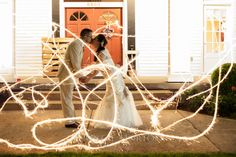 wedding photo, sparkler, fairy tale, romantic, professional, night, light streak