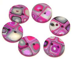 Polymer Clay Round BUTTON KLIMT CANE Style  Set of by @KatersAcres