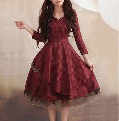 Red dress Linen Cotton dress women dress fashion dress Long sleeve dress---WD033