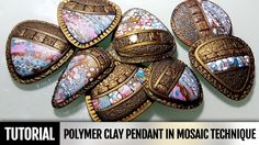 DIY How to make Polymer clay pendant in mosaic technique. Video Tutorial