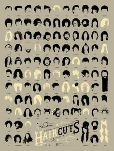 Pop Chart Lab --> Design + Data = Delight --> A Visual Compendium of Notable Haircuts in Popular Music Cool Haircuts, Cool Hairstyles, Famous Hairstyles, Hairstyles Pictures, Popular Hairstyles, Short Haircuts, Hairstyles Haircuts, Looks Rockabilly, Natural Hair Styles
