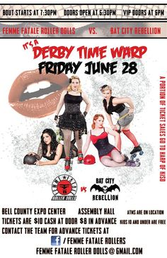 "Femme Fatale Roller Dolls of Killeen, TX ""Derby Time Warp"""