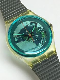 226089903d24 Swatch Watch Vintage Turquoise Bay GK103 1987 Blue Grey Skeleton Clear See  Through Valentines Gift by