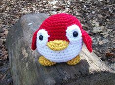 Plush Penguin Round and Red - Stuffed Toy Penguin - Plush Marine Animal in Amigurumi Crochet - Roly-Poly Plush Penguin