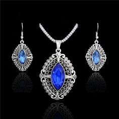H:HYDE Fashion Silver Color Blue/Red Crystal Jewelry Sets Luxury Party CZ Necklace&Earrings Fine Jewelry Colar Feminino