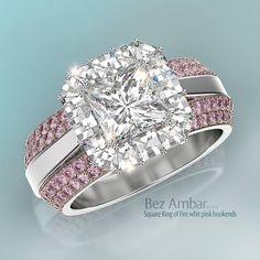Bez Ambar's Ring of Fire with Blaze® diamonds and two pink sapphire ring enhancers (Product code: 1ROF24SQ-35602PS). #diamondjewelry #blazediamonds #engagementrings www.bezambar.com