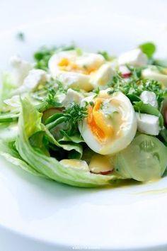 {Salad with Feta cheese, Eggs and Watercress} Sałatka z jajkiem i fetą - Przepis Clean Recipes, Cooking Recipes, Healthy Recipes, Healthy Foods, Pasta Lunch, A Food, Food And Drink, Salad Recipes, Potato Salad