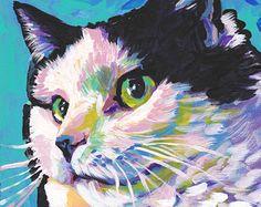 Russian Blue Cat portrait art print of pop bright by BentNotBroken