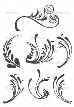 Beautiful Floral Ornament Design Elements - Decorative Vectors