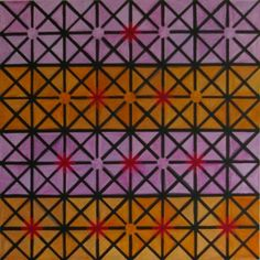 Andy Parkinson, Networked Double Tetractys (Purple and Orange), 2012, Acrylic on Canvas, 24″x24″