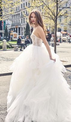 Featured Wedding Dress: Bliss collection by Monique Lhuillier; Wedding dress idea.