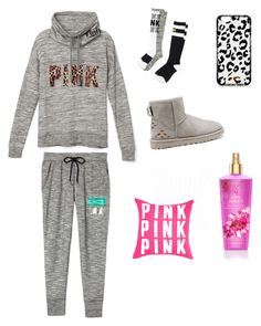 """""""Soo comfy ! PINK ❤️"""" by iines-kanerva on Polyvore featuring Victoria's Secret PINK, UGG Australia and Victoria's Secret"""