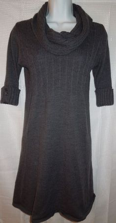 TAKEOUT Sweater Dress Cowl Neck Ribbed  Cuff Knee Length Empire Waist Gray Sz M #Takeout #SweaterDress #Casual #Fashion