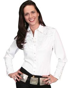 94f39b3034d Scully Women s Floral Embroidered Western Shirt