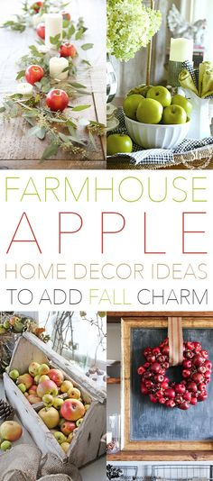 Farmhouse Apple Home Decor Ideas to add Fall Charm - The Cottage Market Adding some Fall Charm to your Farmhouse is such a wonderful thing! Apple Kitchen Decor, Kitchen Decor Themes, Apple Decorations For Kitchen, Apple Centerpieces, Apple Home, Decor Scandinavian, Shabby, Country Farmhouse Decor, Country Kitchen