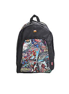 "This backpack features comic covers from your favorite Marvel superheroes! Includes padded back and adjustable mesh padded straps, zipper front pocket with interior pouch pockets, a metal enamel Marvel pin in front, interior black and white comic panel lining and laptop sleeve. The coolest part? It's expandable with a zipper!  <div><ul><li style=""LIST-STYLE-POSITION: outside !important; LIST-STYLE-TYPE: disc !important"">Approx. 18 1/2"" x..."