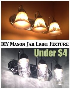 What an inexpensive update to light fixtures.  Note, Melissa @ Two It Yourself (Hometalk) recommends putting vent hole in the glass jars especially in a high-use area.