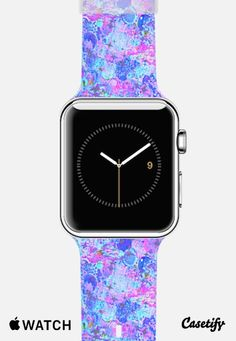 TIME FOR BUBBLY, AGAIN - Girly Pretty Pastel Abstract Acrylic Painting Fine Art Pink Aqua Turquoise Blue White Swirls Whimsical Pastry Spring Summer Fun Chic Pattern Apple Watch Band case by Ebi Emporium | Casetify