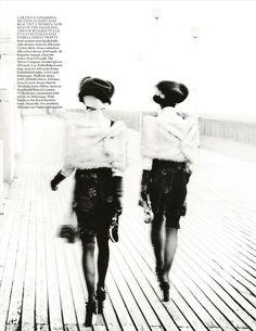 Deauville Rendezvous | Stella Tennant, Marte Mei van Haaster | Mario Testino #photography | Vogue UK September 2012
