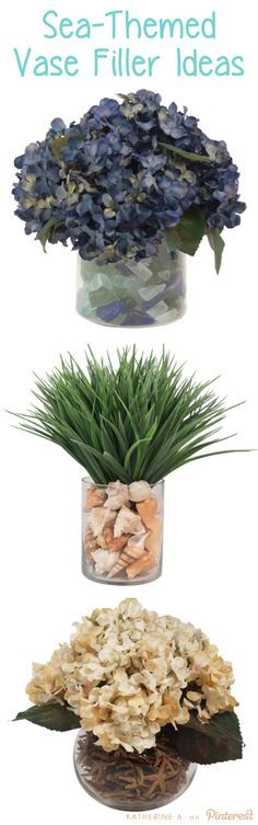 Sea / Ocean Themed Vase Fillers! Use Sea Glass, Shells, Starfish, or even Sand to bring the sea to your home this year.