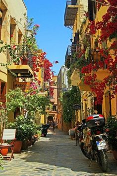 Charming alley in Chania, Crete Island, Greece researched by Nefeli Aggellou Places Around The World, Travel Around The World, Around The Worlds, Places To Travel, Places To See, Beautiful World, Beautiful Places, Beautiful Streets, Chania Greece