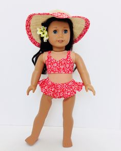 Orange Two Piece SwimSuit Bathing Suit and Matching Wide Brim Hat d3cba5afa924
