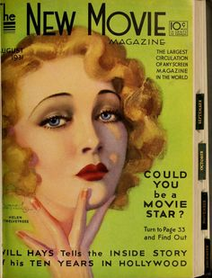 The New Movie Magazine - August 1931 - Helen Twelvetrees - cover