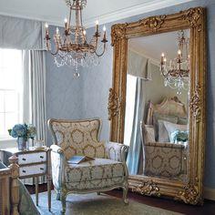 Love the large leaning mirror Interior Styling, Interior Design, Paris Apartments, Floor Mirror, Arch Mirror, Wall Mirrors, French Interior, French Cottage, Beveled Mirror