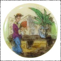 Antique Porcelain Button - Asian Scene, Woman Holding Fan, Table, Plant & Screen