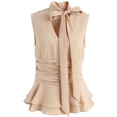 Chicwish Absolutely Concinnity Sleeveless Top in Beige ($40) ❤ liked on Polyvore featuring tops, beige, no sleeve tops, cutout tops, sleeveless tops, rouched top and ruched top