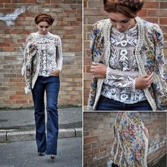 Simona Mar - Zara Swiss Dots Embroidered Top, Boohoo Tapestry Jacket, Zara Bell Bottom Jeans - Tapestry