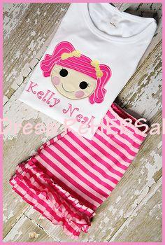Lalaloopsy applique monogram shirt 12 18 24 2 3 4 by DressReHERSal, $21.00