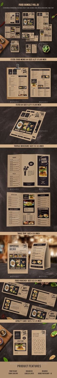 Food Menu Bundle Template PSD, AI Illustrator. Download here: https://graphicriver.net/item/food-menu-bundle/17416440?ref=ksioks
